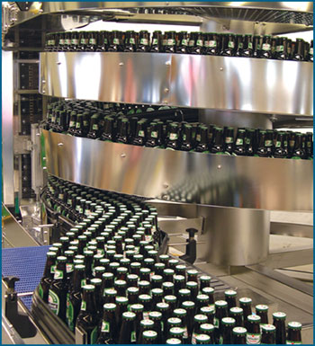 Beer Infeed in Mass Flow Spiral Conveyor
