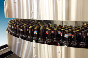 Bottles in Mass Flow Spiral Conveyor