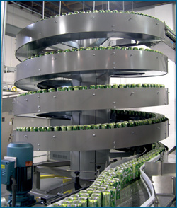 Mass Flow Conveyor with cans